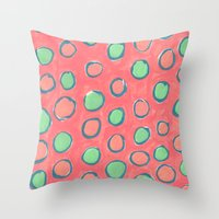 polka dot Throw Pillows featuring polka dot by Jenni Freidman