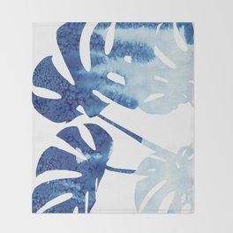 Navy Blue Tropical Leaf Throw Blanket