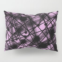 Web Of Lies - Black and pink conceptual, abstract, minimalistic artwork Pillow Sham