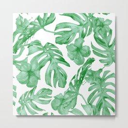 Tropical Island Leaves Green on White Metal Print