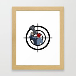 Man in red mask evil criminal Framed Art Print