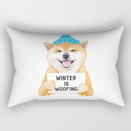 Winter Shiba Inu Rectangular Pillow