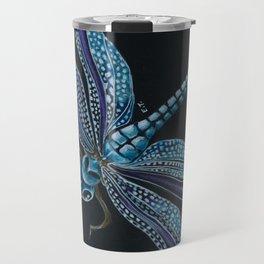 Dragonfly Purple Blue Black Brushed Art Travel Mug