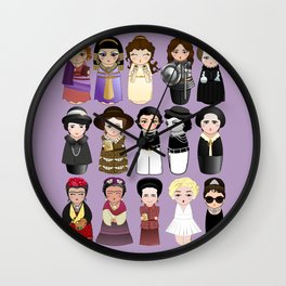 Kokeshis Women in the History Wall Clock