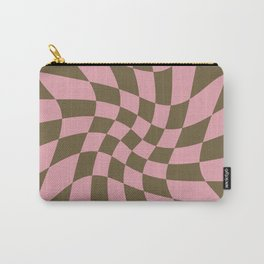 Wavy Check - Pink And Brown - Checkerboard Pattern Print Carry-All Pouch