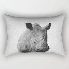 Rhino - Black & White Rectangular Pillow