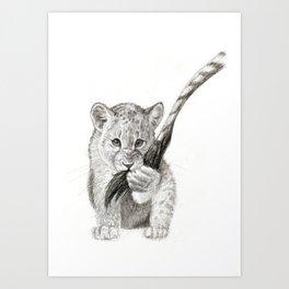 Hungry Lion Cub Art Print