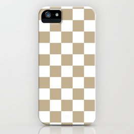 Checkered - White and Khaki Brown iPhone Case