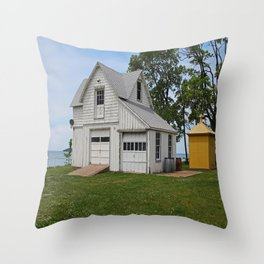 South Bass Island Lighthouse Barn and Oil Storage Building I Throw Pillow