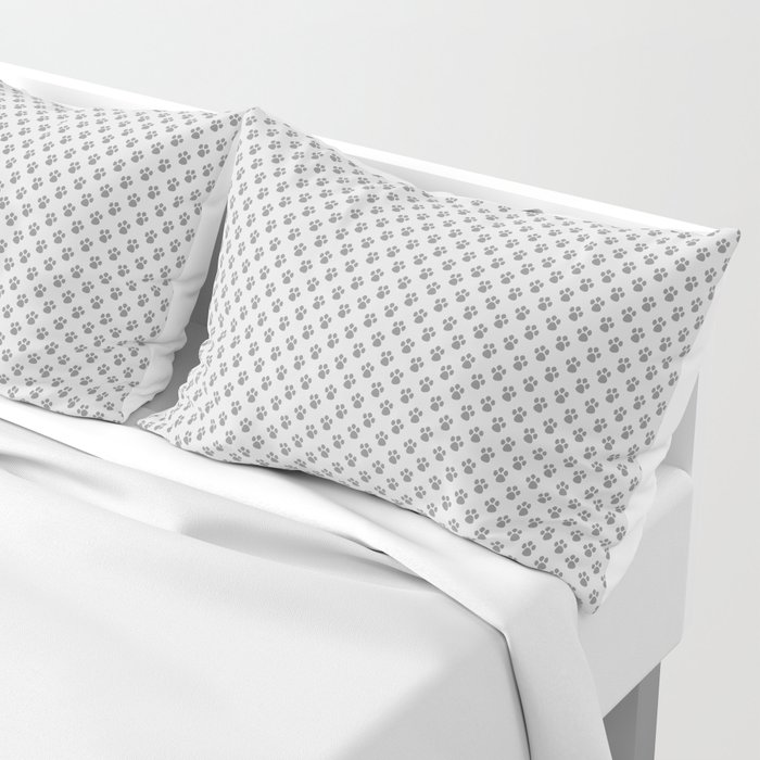 Tiny Paw Prints - Grey on Light Silver Grey Pillow Sham