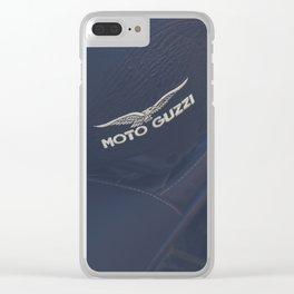 Moto Guzzi photo, helmet & motorbike, café racer, scrambler, bokeh, man cave stuff, motorcycle Clear iPhone Case