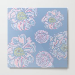 Abstract Flowers Blue #society6 #buyart Metal Print