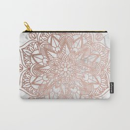 Rose Gold Mandala on Marble Carry-All Pouch