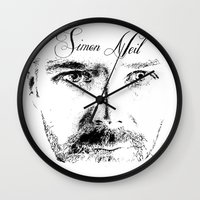 neil gaiman Wall Clocks featuring Simon Neil - Biffy Clyro  by McFREE