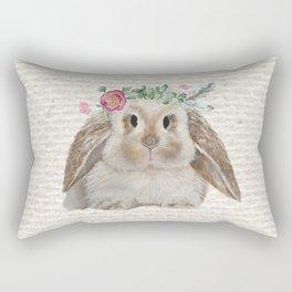 Floral Crown Bunny on Burlap Rectangular Pillow