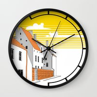medieval Wall Clocks featuring Medieval houses by LaDa