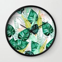 Tropical jungle white Wall Clock