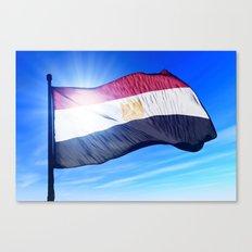 Egypt flag waving on the wind Canvas Print