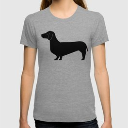 Dachshund silhouette minimal black and white dog lover home decor gifts accessories silhouette T-shirt
