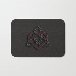 Celtic Knot Valentine Heart Black Leather Bath Mat