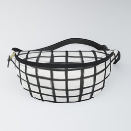 Strokes Grid - Black on Off White Fanny Pack