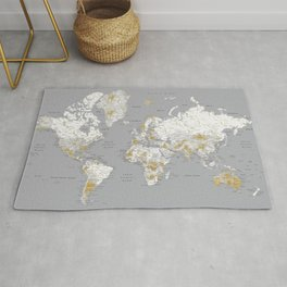 Detailed marble world map in gold and grey Rug