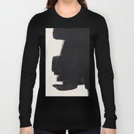 Mid Century Modern Minimalist Abstract Art Brush Strokes Black & White Ink Art Colorfield Long Sleeve T-shirt