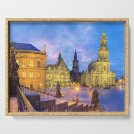 Dresden skyline at dusk Serving Tray
