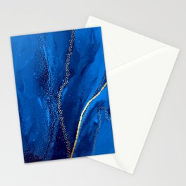Blue watercolor liquid  Stationery Cards