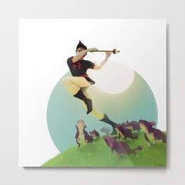 Viridian Flutist Metal Print