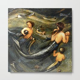 "Edward Burne-Jones ""The Mermaid Family"" Metal Print"