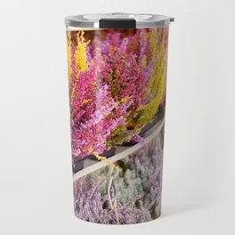 shelves with blooming heather Travel Mug