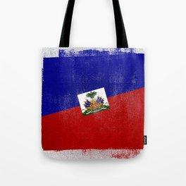 Haitian Distressed Halftone Denim Flag Tote Bag