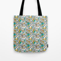 pug Tote Bags featuring Pug pattern by gemma correll