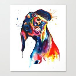 Puppy Splatter Dog Watercolor Paint Canvas Print