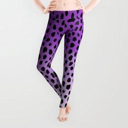 Ombre Dalmatian Spots (purple/black) Leggings