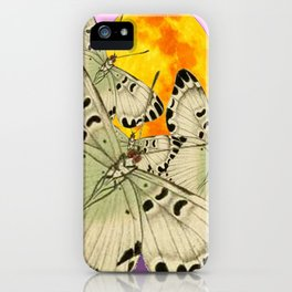GOLDEN MOON MOTHS ON PUCE & PINK iPhone Case