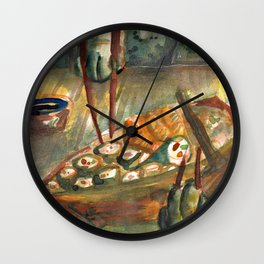 i love cats eating sushi Wall Clock