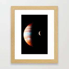 Jupiter And Its Volcanic Moon Io, Galaxy Background, Universe Large Print, Space Wall Art Decor Framed Art Print
