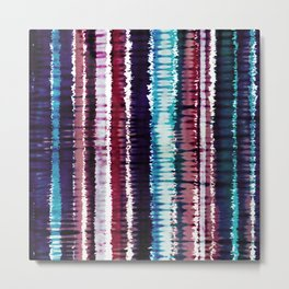 Bohemian Style Tie dye Stripes Design Metal Print