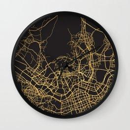 SEOUL SOUTH KOREA GOLD ON BLACK CITY MAP Wall Clock