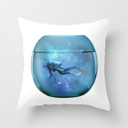 Diver in a fishbowl Throw Pillow