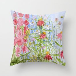 Watercolor Garden Flowers Summer Botanical Illustration Throw Pillow