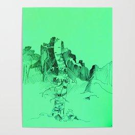 Mint Birch Tree Poster