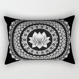 Black and White Lotus Mandala Rectangular Pillow