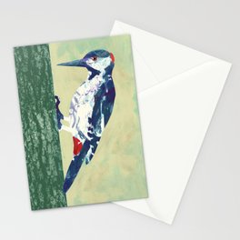 Woodpecker pecking wood Stationery Cards