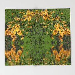 GREEN YELLOW RUDBECKIA DAISIES WATER REFLECTIONS Throw Blanket