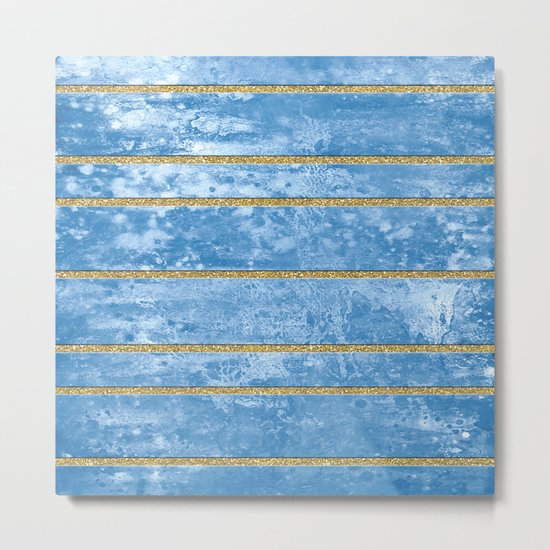 Abstract Painting with Golden Stripes - Blue Metal Print