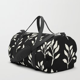 Modern ivory black hand painted watercolor floral pattern Duffle Bag
