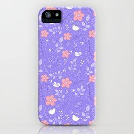 Cute bird and flower pattern iPhone Case